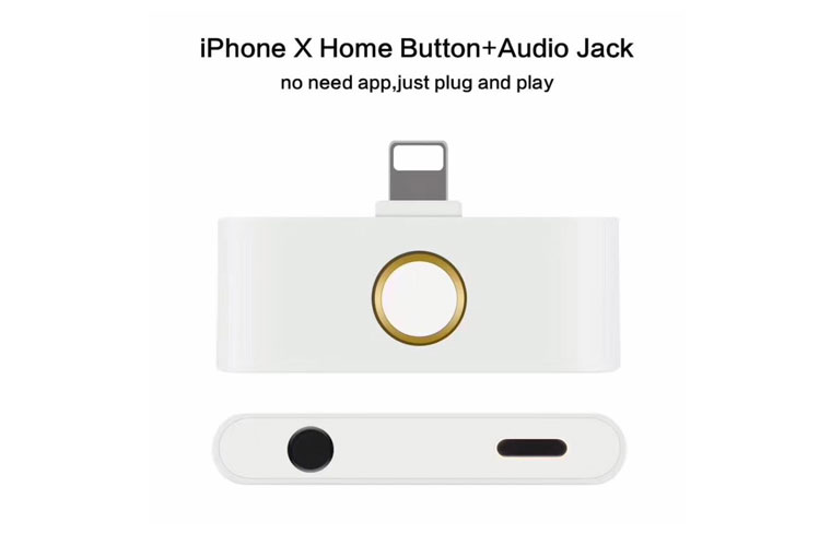 3 in 1 Phone Accessory Adapter for iPhoneX/8/8plus/7 External Home Button with Charging Plug+3.5mm Audio Jack