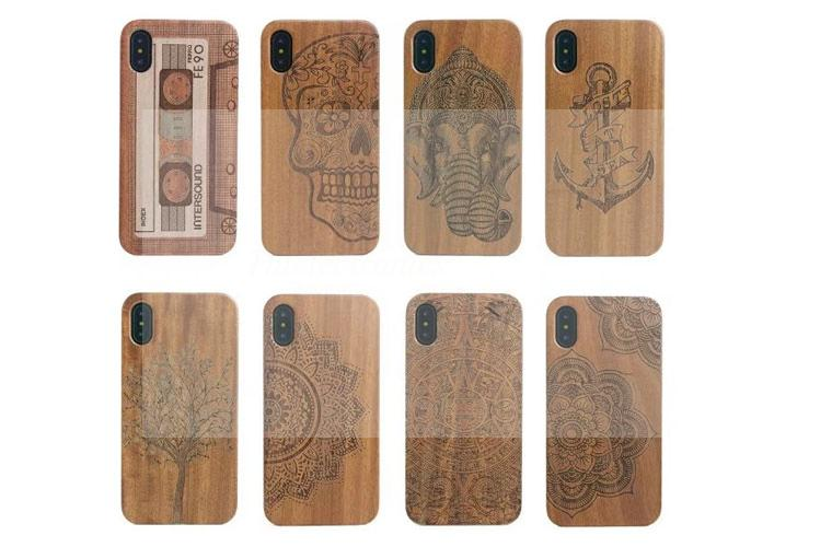 Wood Case For Apple iphone X Hard Carved Pattern Protective Back Cover Cases For iphoneX phone shell